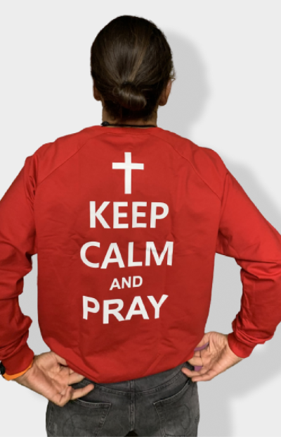 Свитшот Keep calm and Pray - красный -
