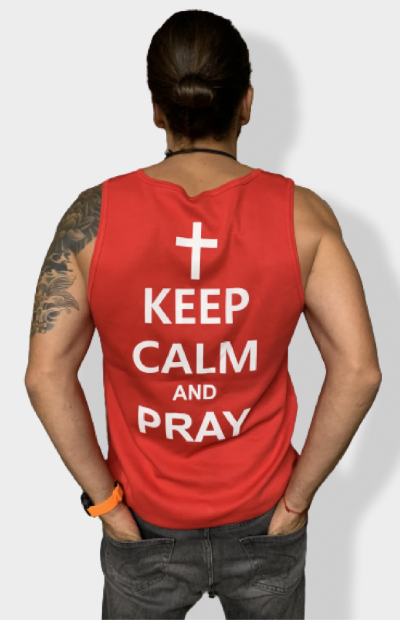 Майка Keep calm and Pray - красная -